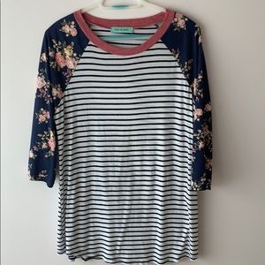 Floral and striped baseball tee